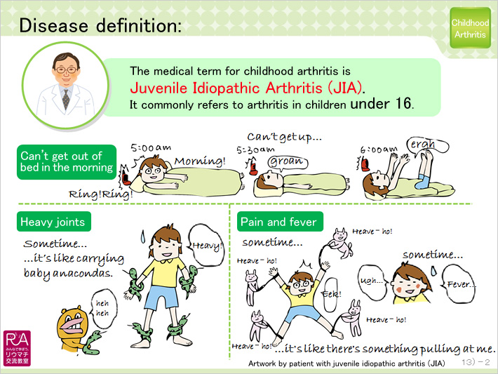Disease definition: The medical term for childhood arthritis is Juvenile Idiopathic Arthritis (JIA). It commonly refers to arthritis in children under 16. Can't get out of bed in the morning Heavy joints Pain and fever