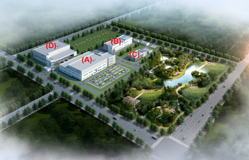 「Artist's rendition of the new OSD facility and administration building at the new Suzhou Plant」